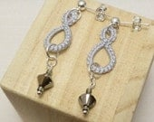 Lace Tatted Jewelry Silver Drop earrings with Swarovski Crystals -Drops