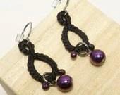 Tatted black lace Drop earrings in purple beads -Drops