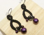 Tatted black lace Drop earrings in purple beads -Drops