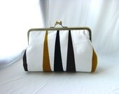 White / Black / Gold Clutch Purse - Portia