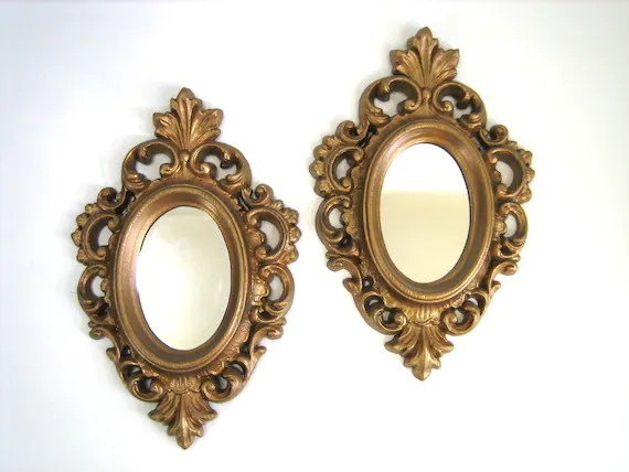 Pair Of Small Gold Ornate BURWOOD Framed Mirrors 60s