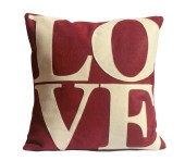 Love- Appliqued Eco-Felt Pillow Cover in Ruby Red and Antique White - 18 inches - DancingArethusa