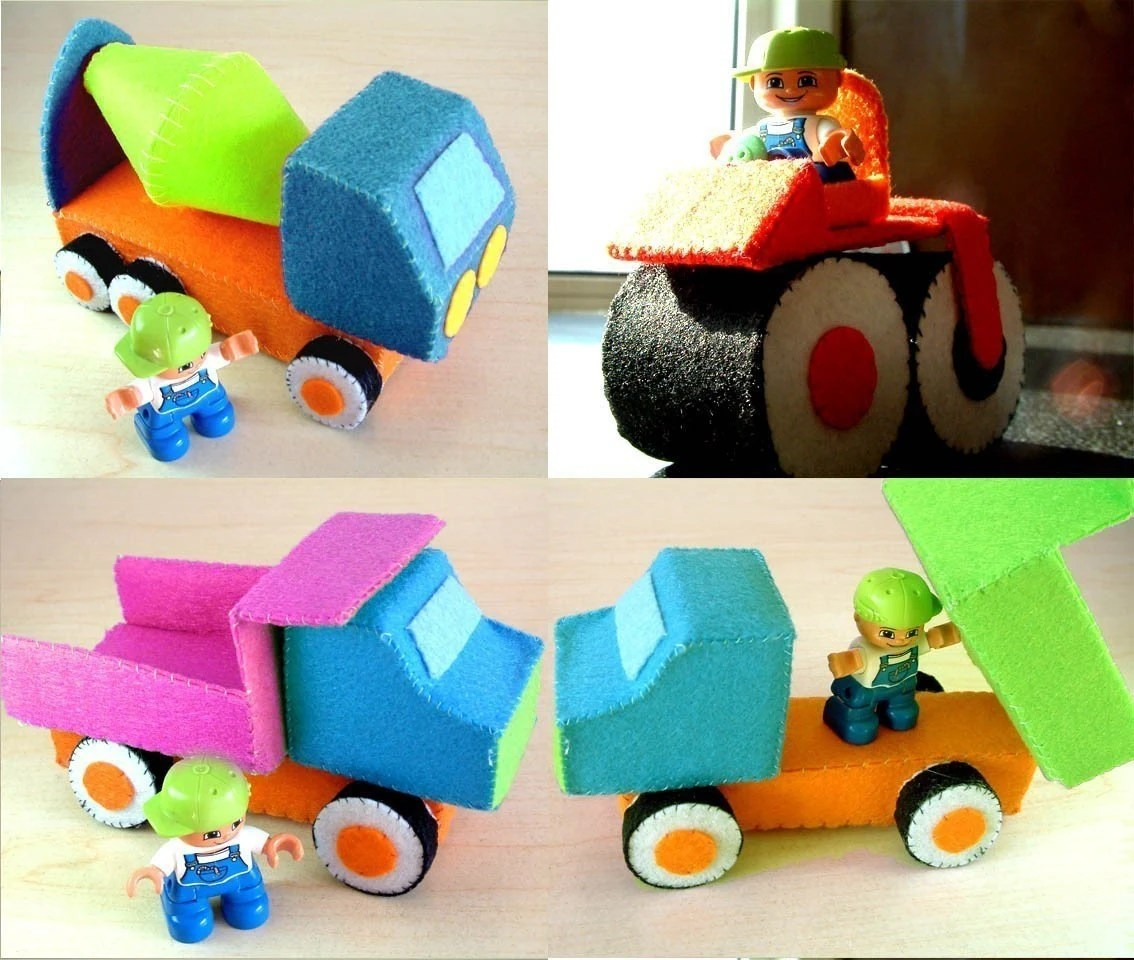 DIY Felt Construction truck set(dump truck,cement mixer,road roller)--PDF Pattern and instructions via Email--C01