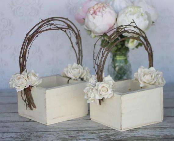 Flower Girl Basket Shabby Chic Wedding Decor SET By