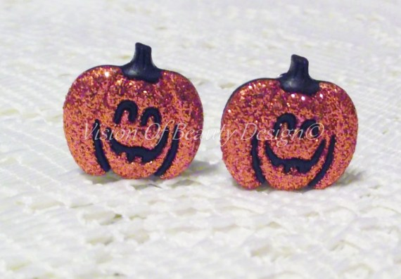 LAST PAIR Halloween Pumpkin Earrings Clip On or Post - visionofbeautydesign