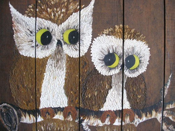 Big Owl Painting on Wood - Mama Owl & Baby -  Vintage Original Oil Painting - VintageZen