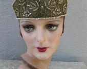 Dramatic Vintage 1920s Flapper Art Deco Rhinestone,Beads and Pearl Gold Lame Headband Crown Bridal