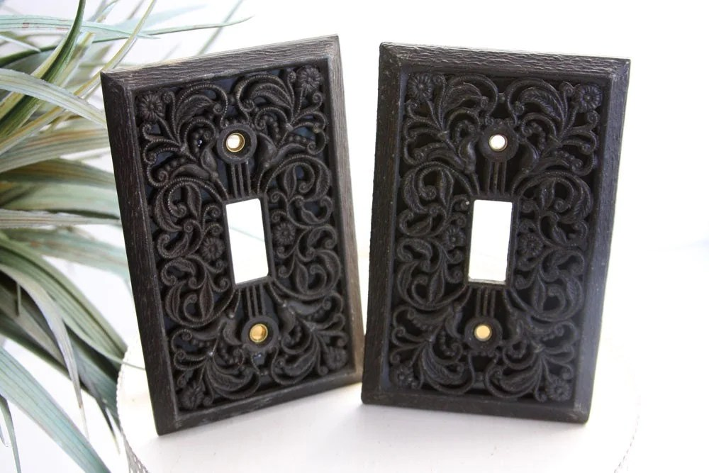 Pair Of Gorgeous Cast Iron Filigree Light Switch Plate Covers