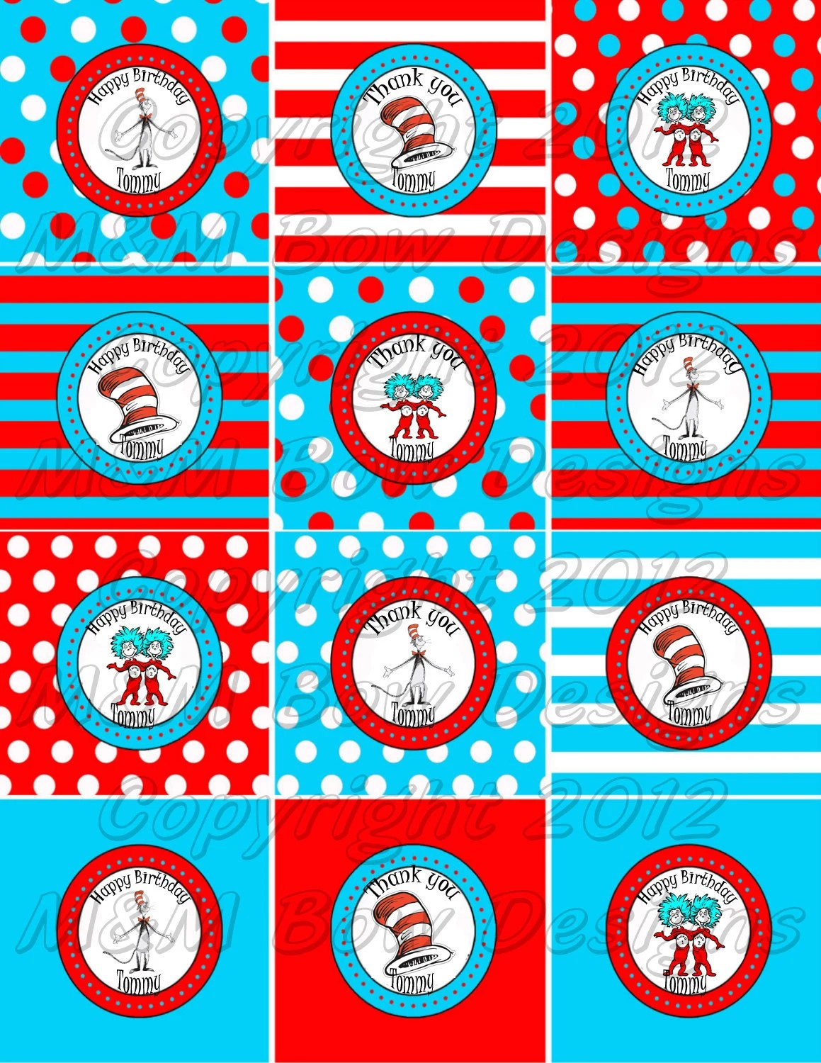 Dr Seuss Cat In The Hat Personalized Printable By Mmbowdesigns