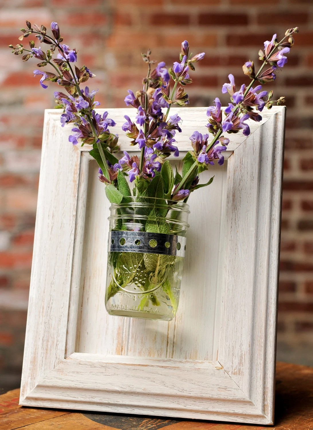 Framed Mason Jar Wall Sconce Rustic White Flower/ Plant/ on Candle Wall Sconces With Flowers id=42495