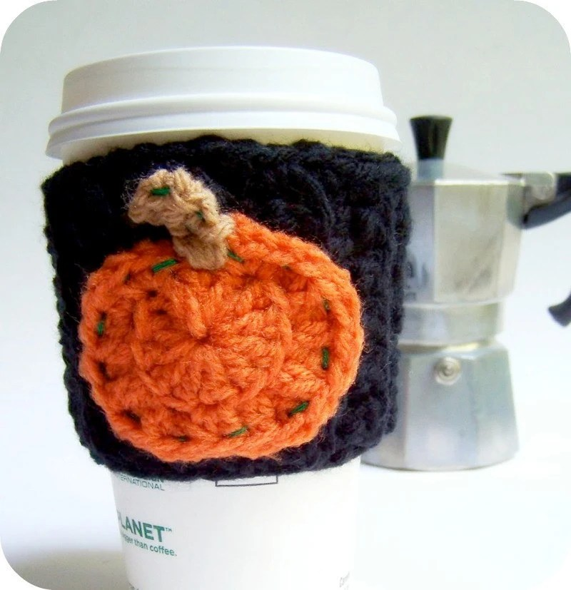 pumpkin coffee cozy for halloween