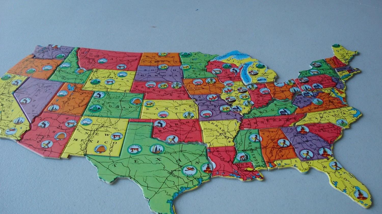 Vintage Map Jigsaw Puzzle United States Milton