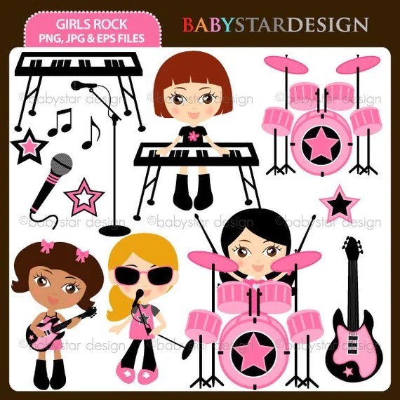 Items similar to Girls Rock Clip Art INSTANT DOWNLOAD on Etsy