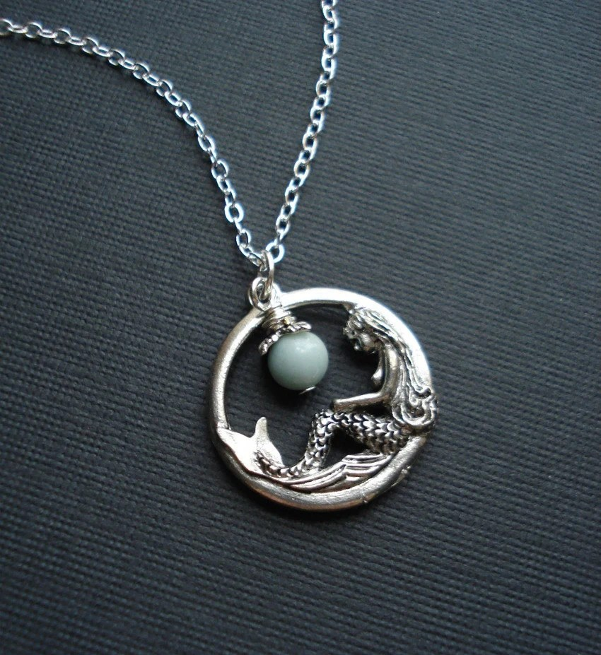 Mermaid Necklace In Silver Mermaid Pendant Fantasy Jewelry