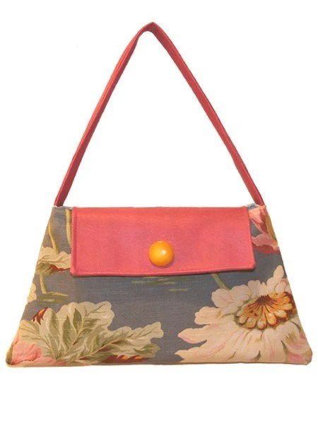 "Handbag, tiny a-line floral with pink faux leather accents, ""Lago"" - maryzank"
