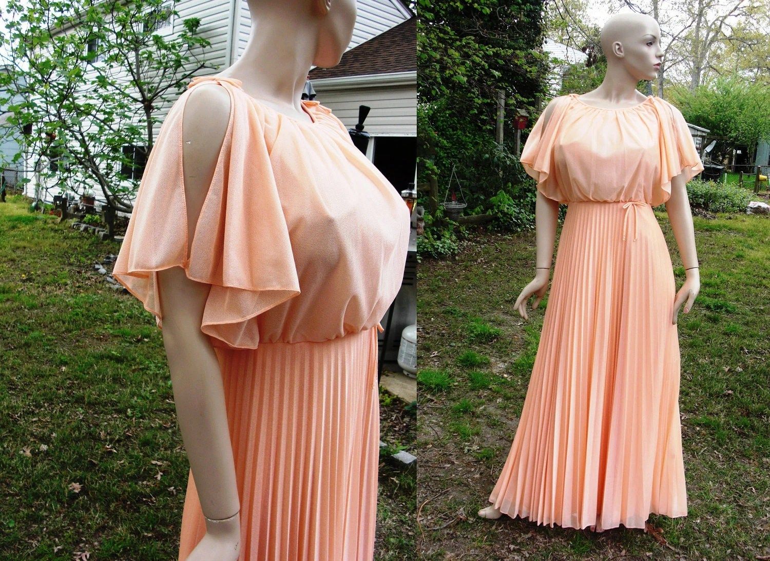 70's Melon Vintage Evening Gown With Pleated Skirt And
