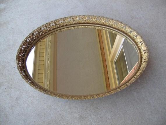 Vintage Vanity Mirror Tray / Faux Brass Oval Ornate Frame