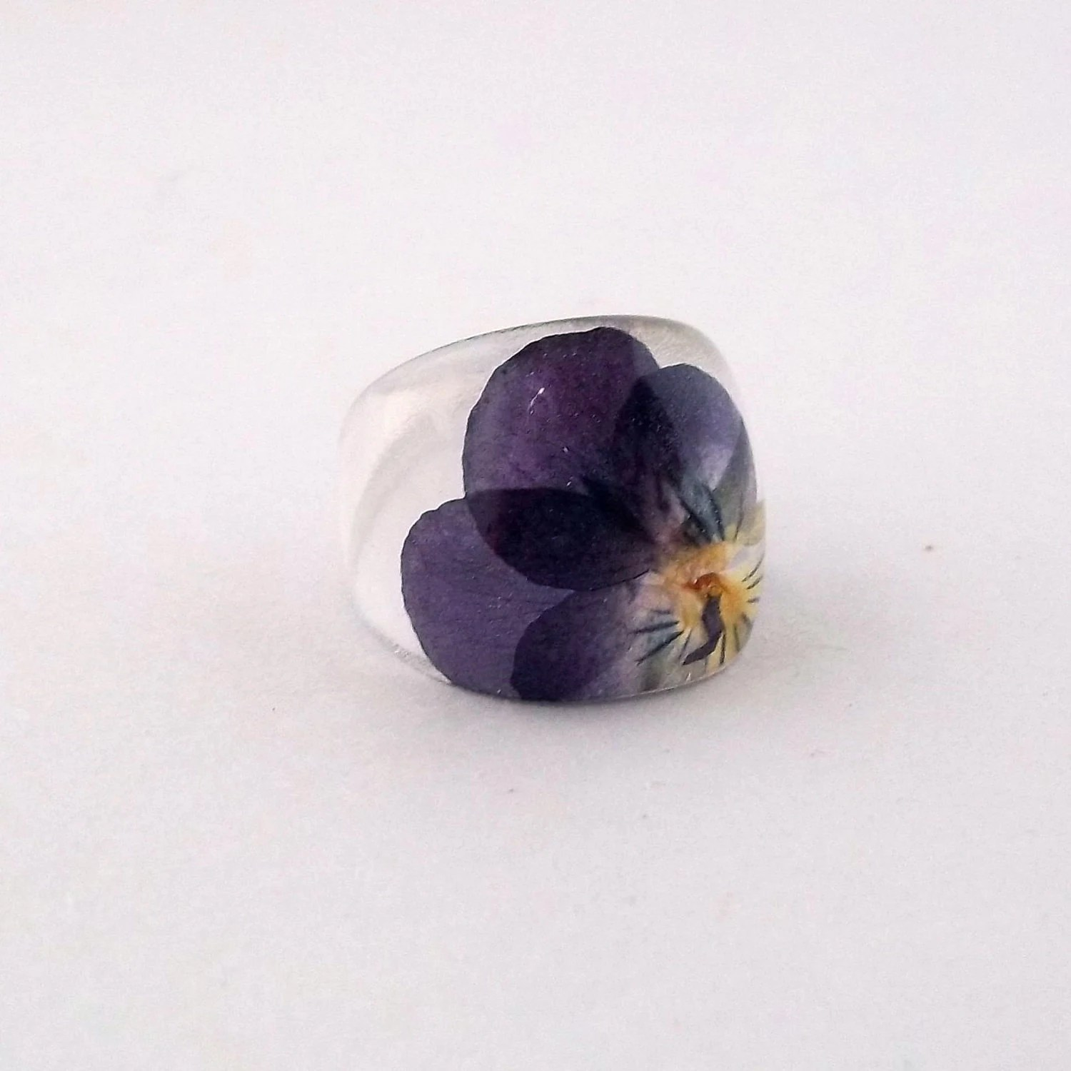 Purple Pansy Resin Ring.  Pansy Violet Viola Resin Ring.  Pressed Flower Ring.  Handmade Jewelry with Real Flowers - Purple Yellow Violet - SpottedDogAsheville