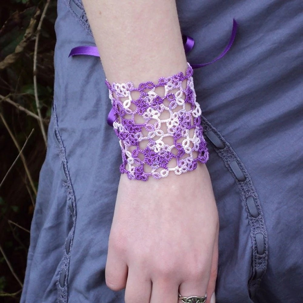 Tatted Lace-up Cuff - Bess (Small)