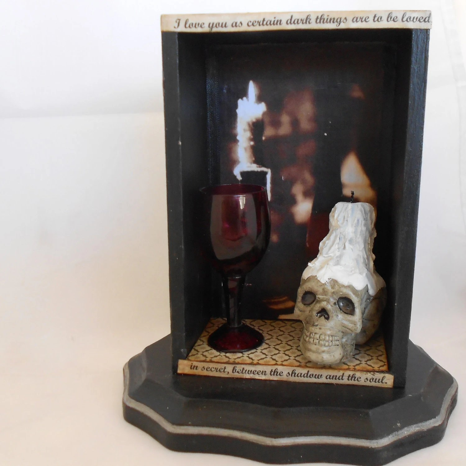 Gothic Shadow Box Skull Mixed Media Art By NacreousAlchemy