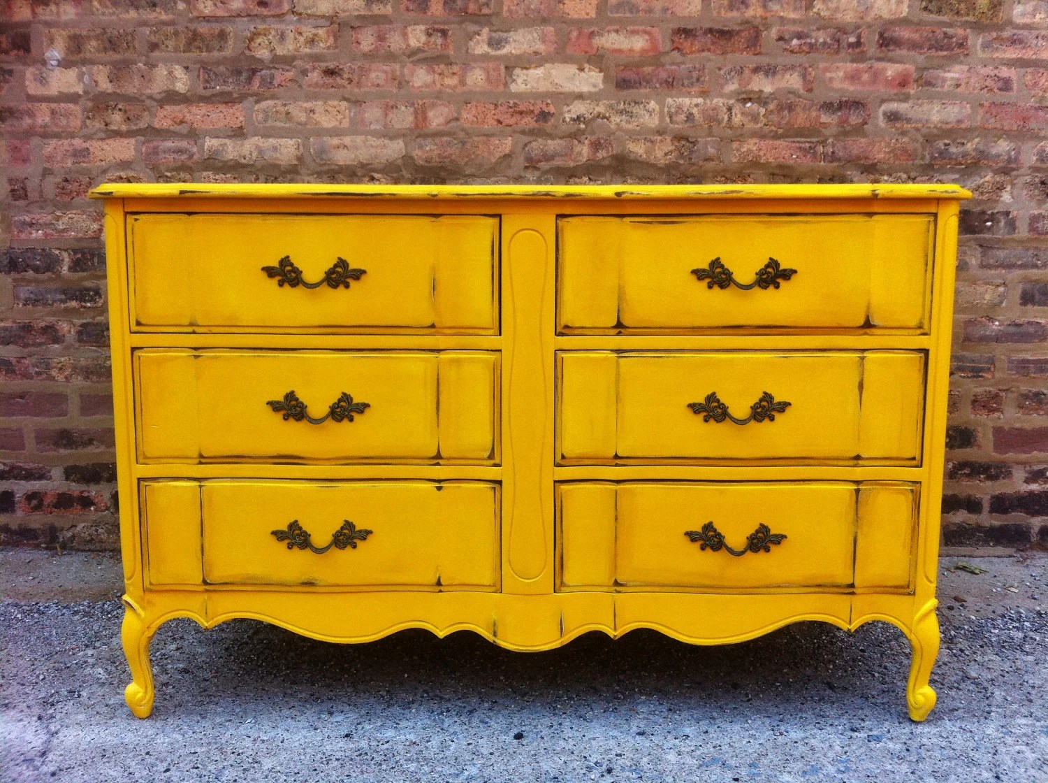 Vintage French Provincial Dresser In Sunflower Yellow