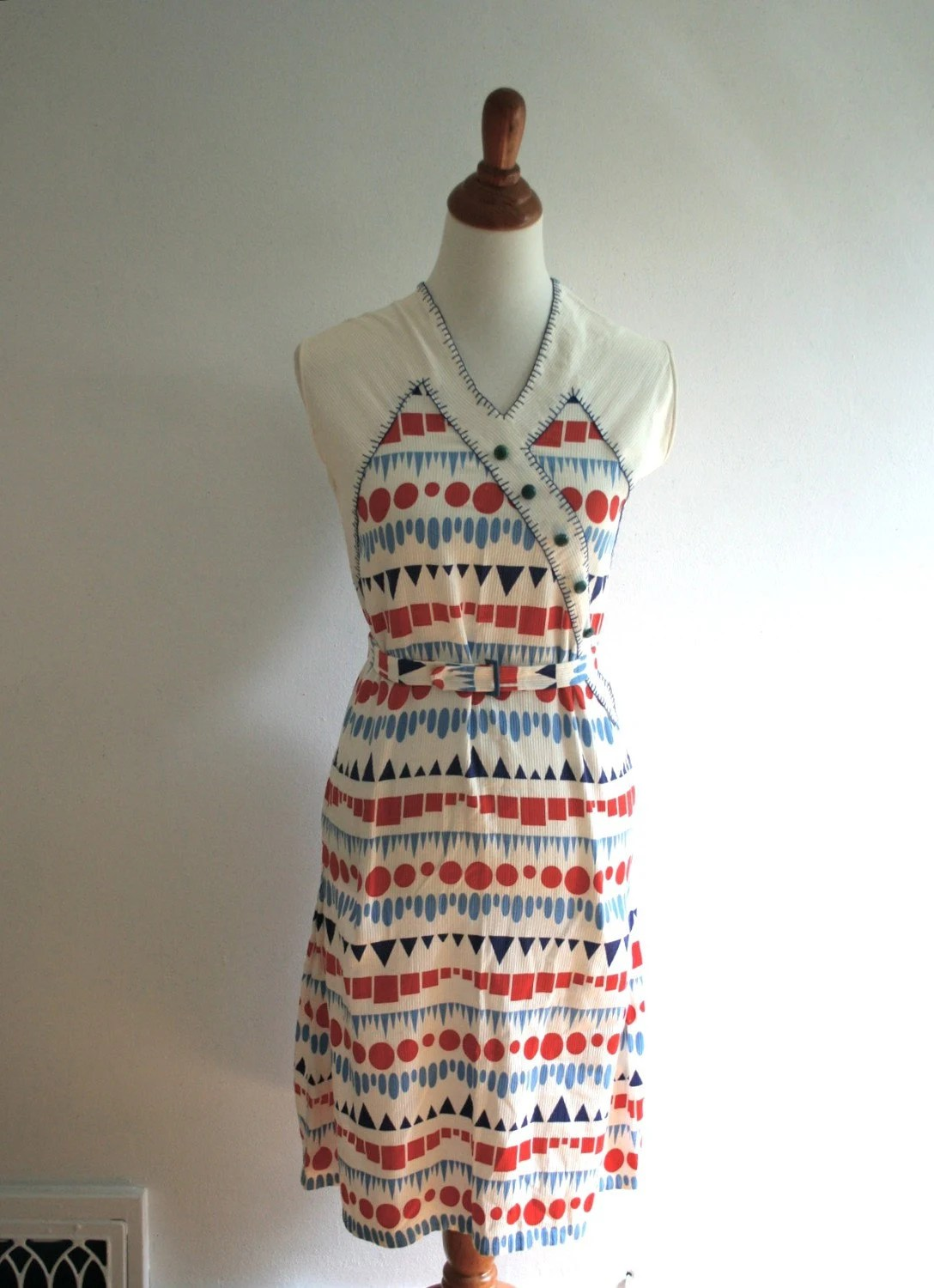 1930s Darling Deco Dustbowl Flour Sack Dress By Adelinesattic