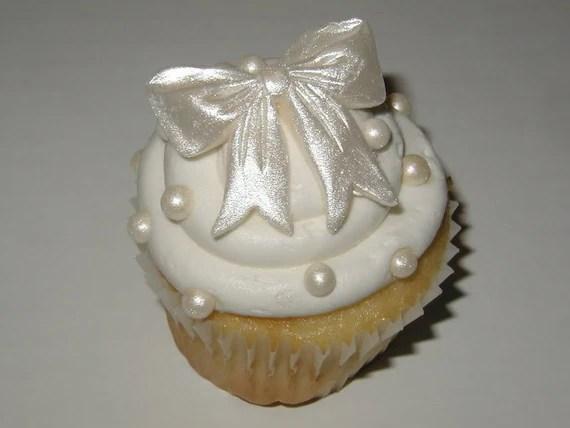 Edible Bow Cupcake Toppers Fondant Cupcake Topper Cupcake