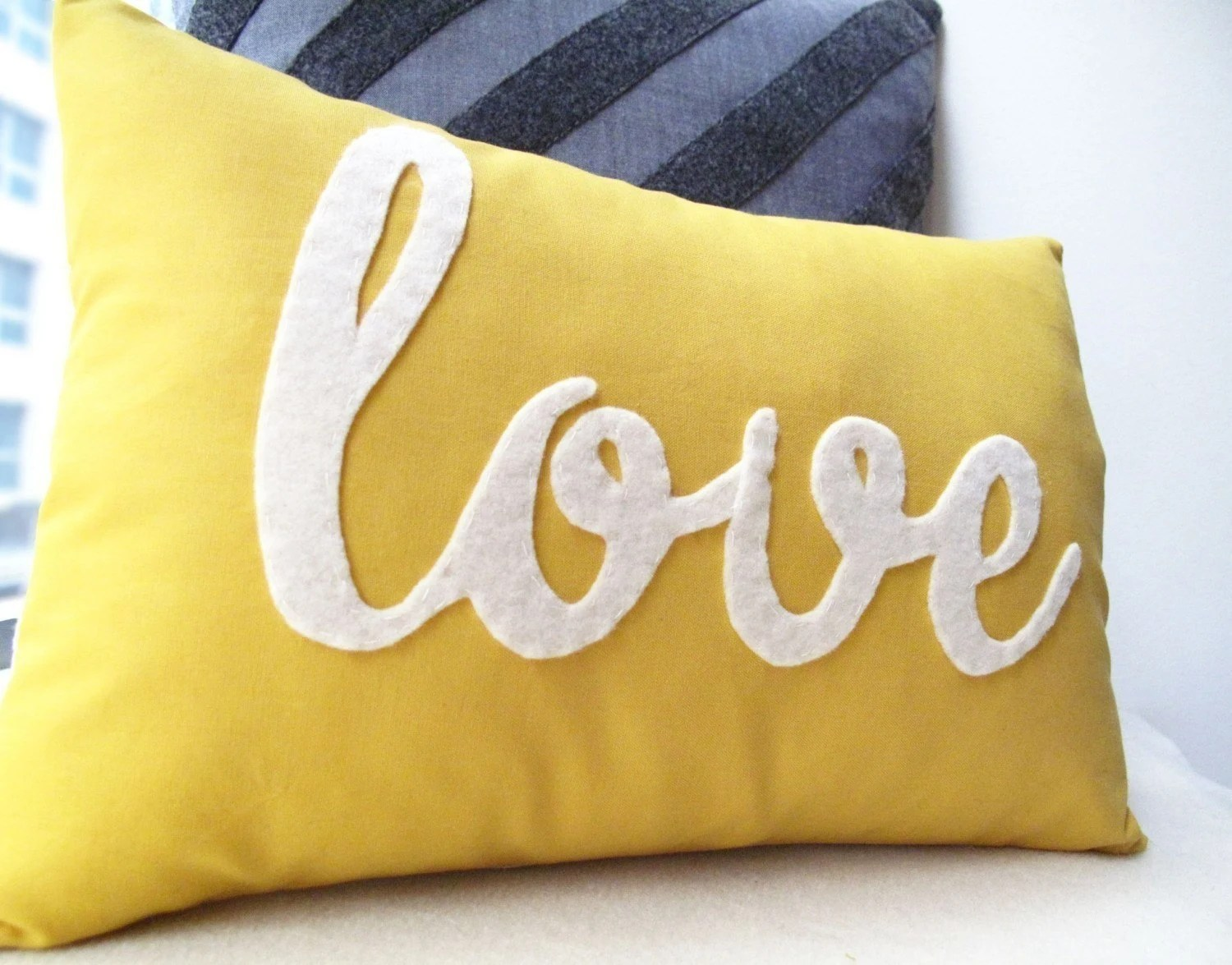 Yellow Love PIllow - HoneyPieDesign