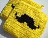 Bright Yellow and Black Mustache Potholders, Crocheted, Crochet Potholders, Pot Holders, Hot Pads, Trivet Set of Two - Hoooked
