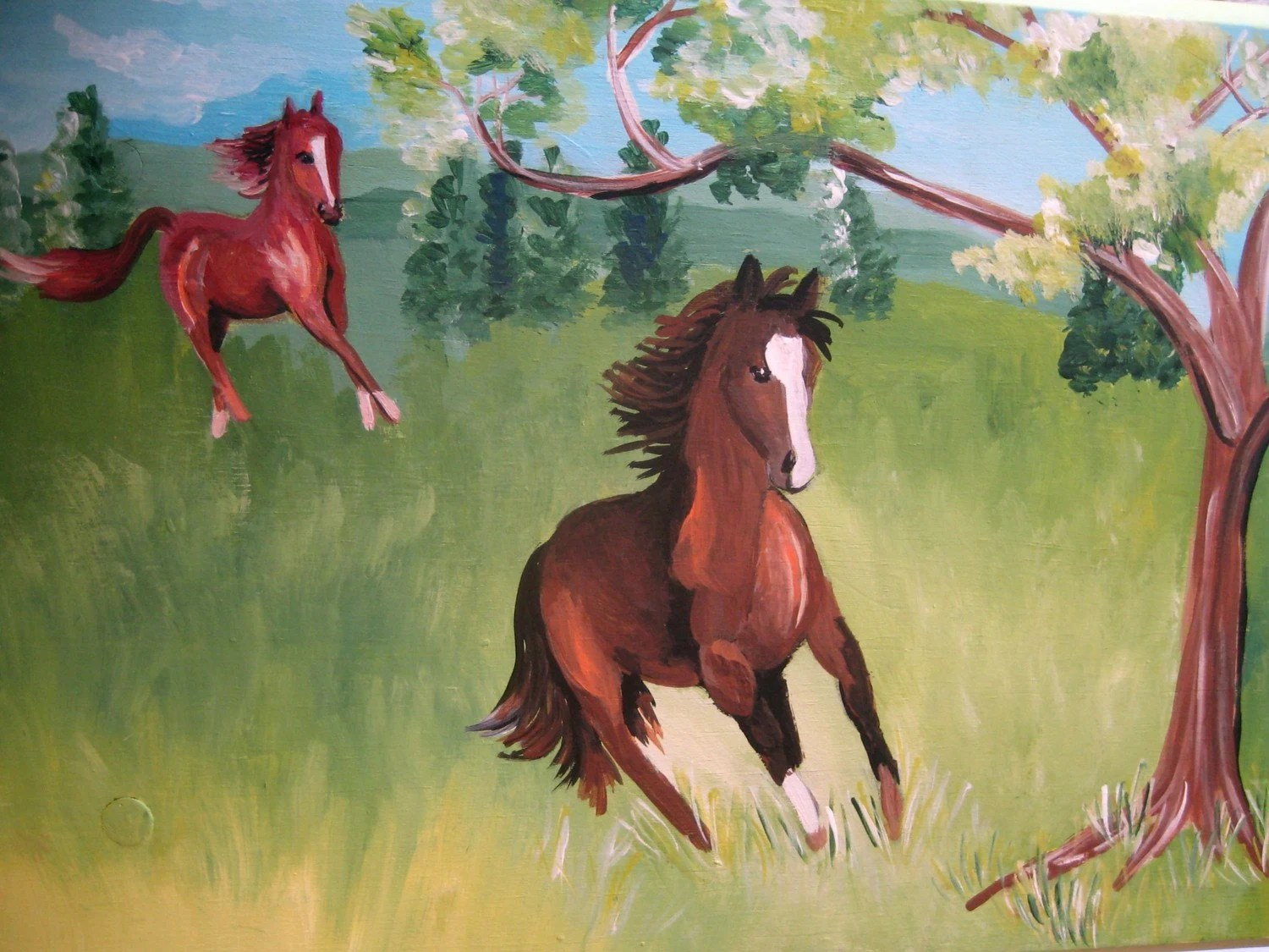 Horses Running In A Field Painted Step By Thepresentplace On Etsy