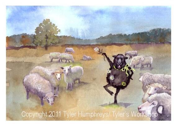 Funny Sheep Greeting Card Black Sheep Watercolor Painting