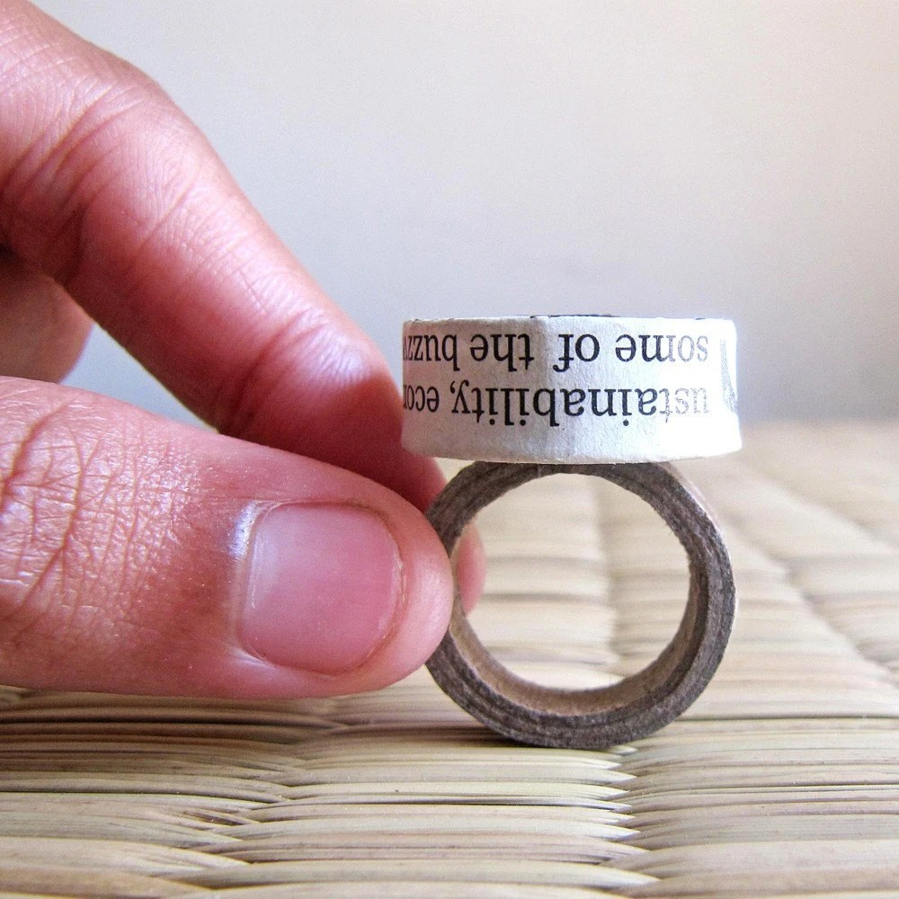 Roller bead Ring - Eco friendly Ring - Newspaper bead jewelry - Recycled jewelry - Upcycled, recycled, repurposed - First anniversary gift - PaperMelon