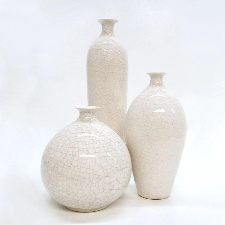 Ceramic White Handmade Bud Vase Shabby chic Summer Wedding Mid century modern stoneware French Home Decor Minimalist 3 Bottles Geometric - blueroompottery