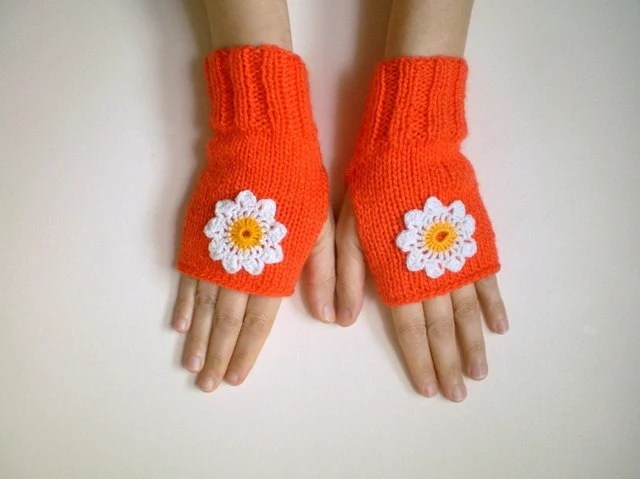 Orange Fingerless Mittens with Crochet Daisy Flowers - bysweetmom