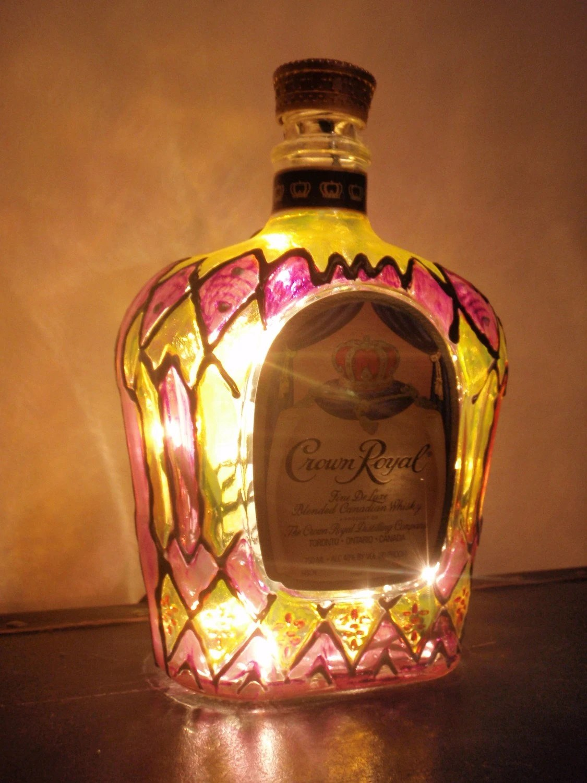 Crown Royal Light Liquor Bottle Lamp Hand Painted
