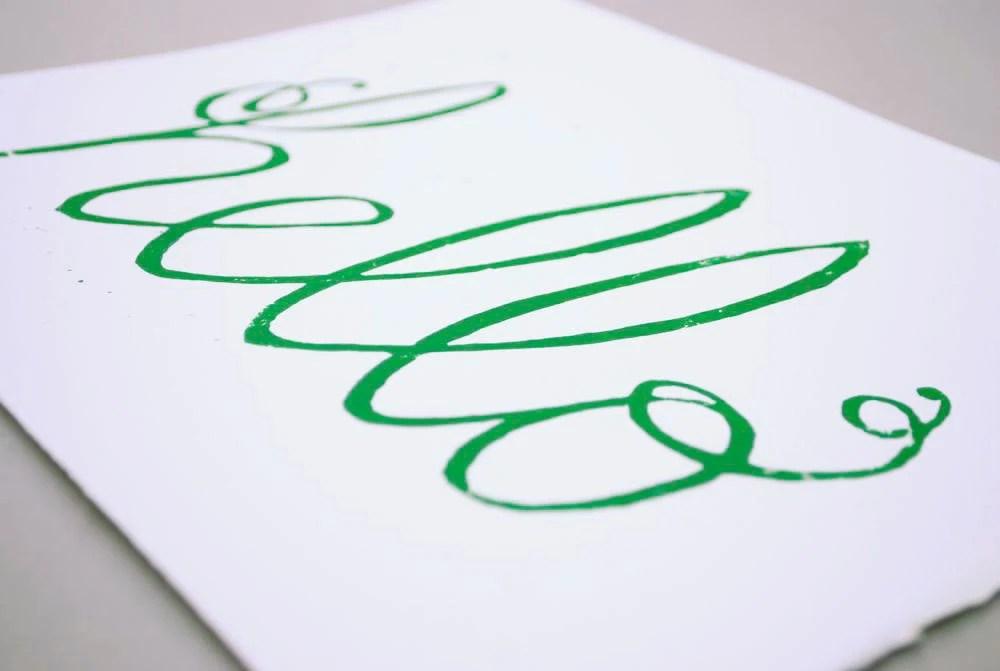 Hello Cursive Block Print, Emerald Green Typography Linocut - CursiveArts