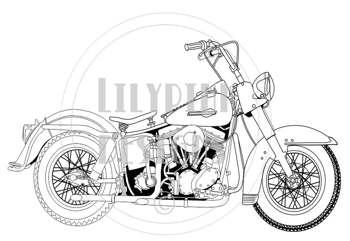 Items Similar To Harley Panhead Digital Stamp On Etsy