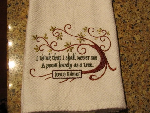 Lovely as a Tree - Joyce Kilmer (White Cotton Birdeye) - Kitchen Hand Towel