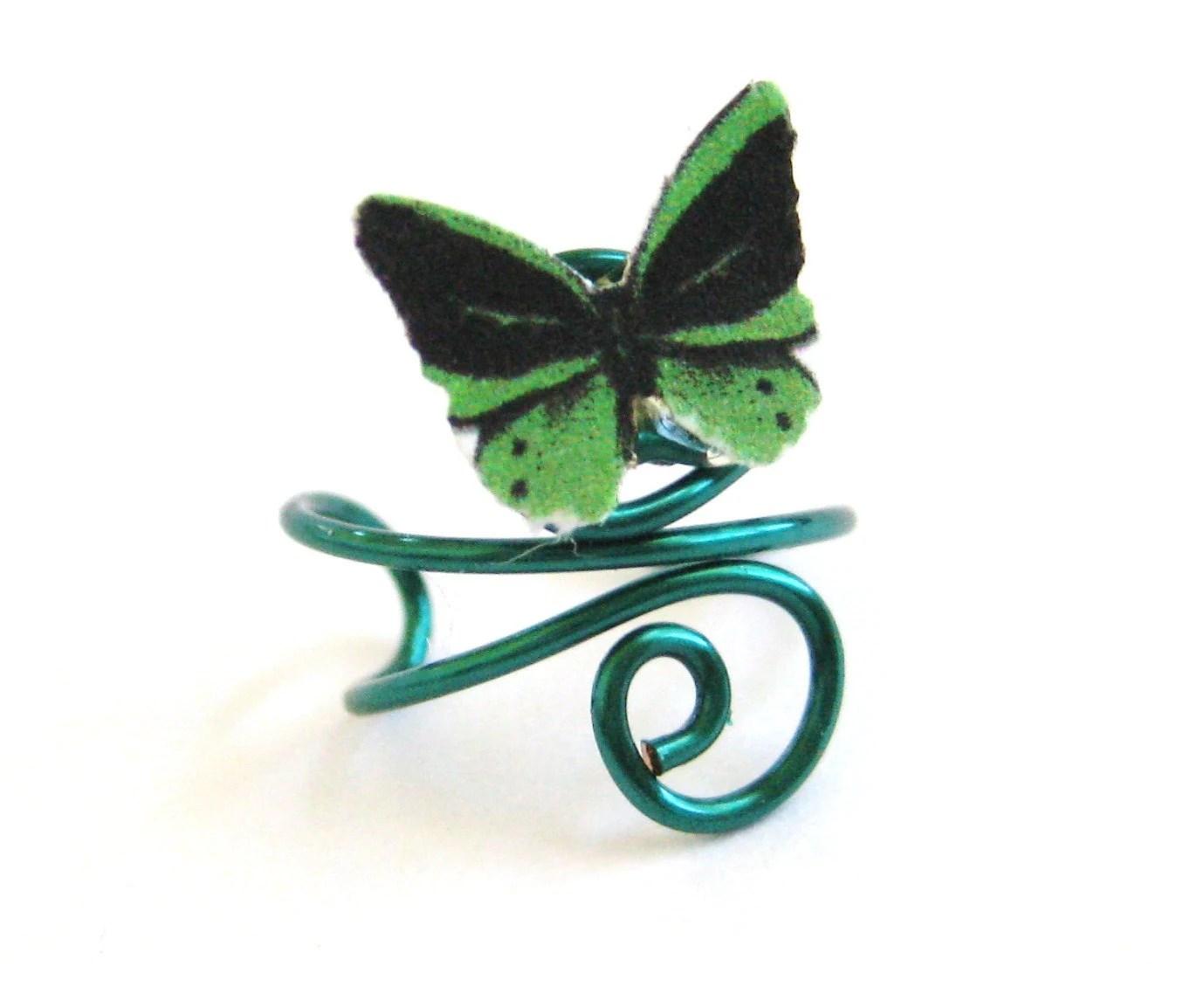 Ear Cuff Earcuff Dark Green Sexy Butterfly Ear Vine Cuff - SpotLightJewelry