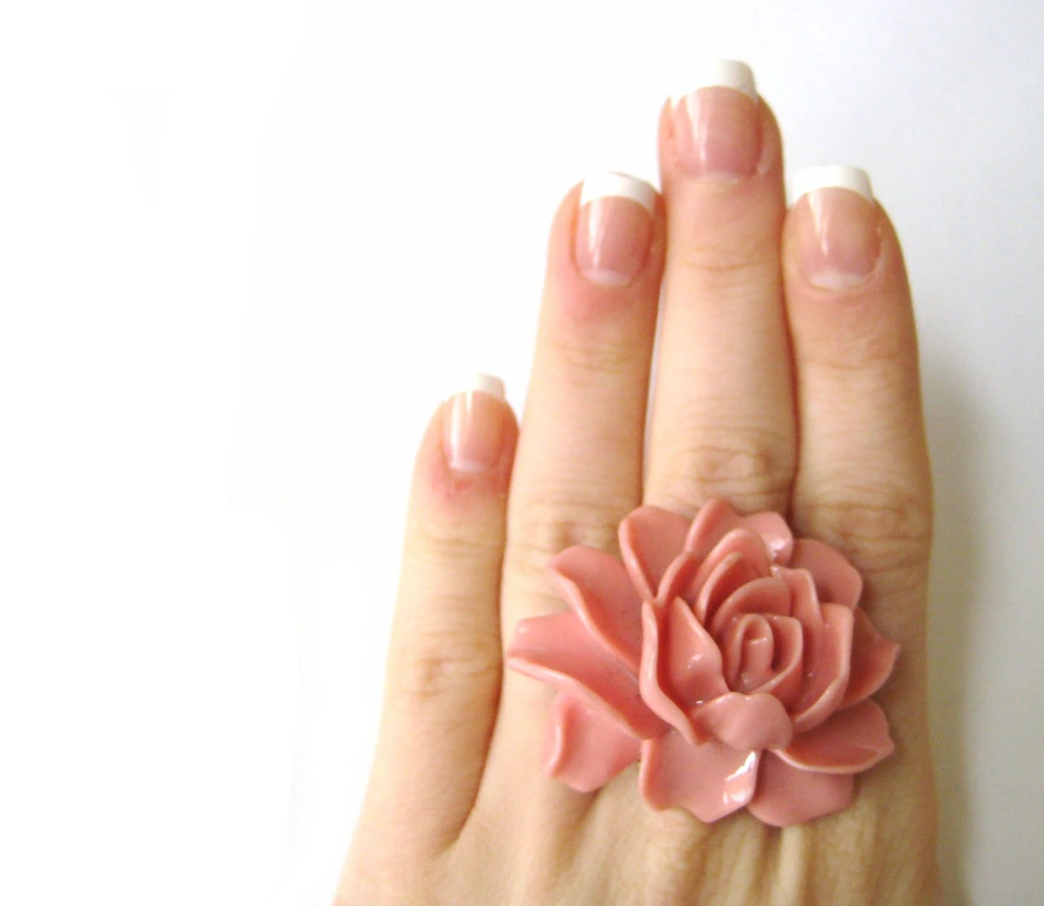 Soft Pink Flower Ring Beautiful Pale Pink Resin Elegant Pastel Pink Jewelry - SpotLightJewelry