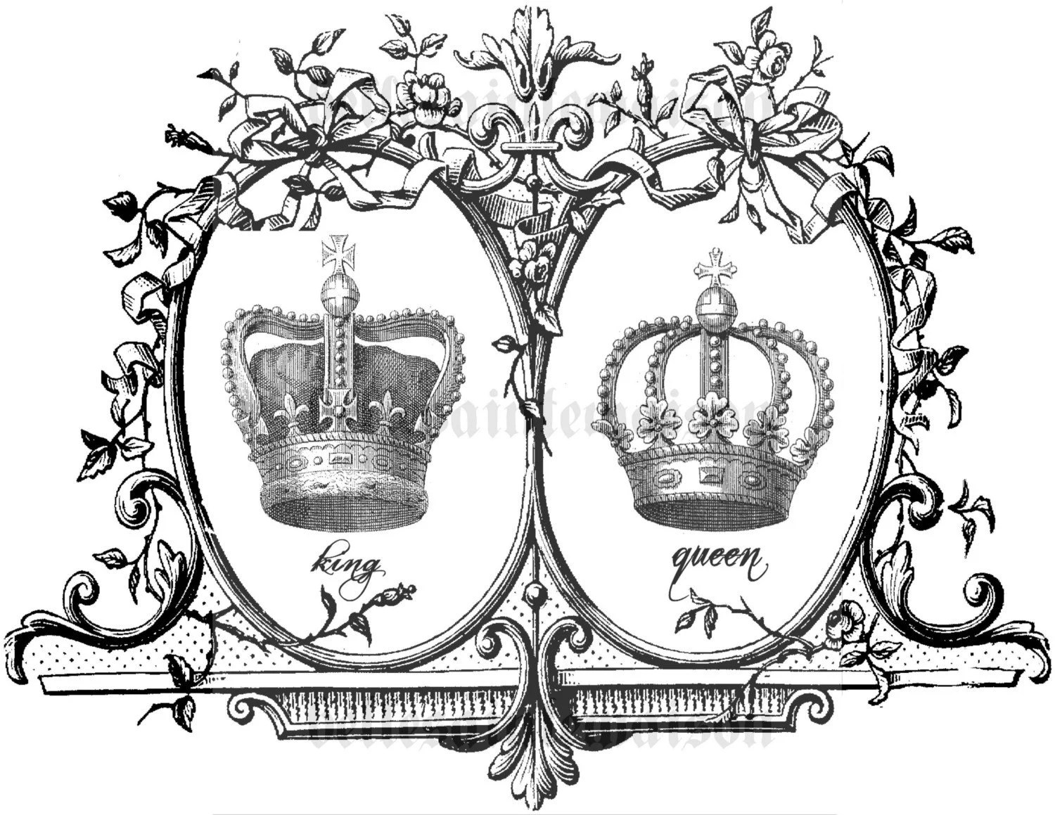 Items Similar To King And Queen Crown Digital Download 8 X