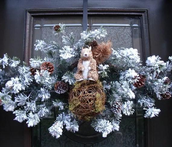 Winter Wreath Squirrel Winter Swag Flocked Wreath Door Decoration - LuxeWreaths