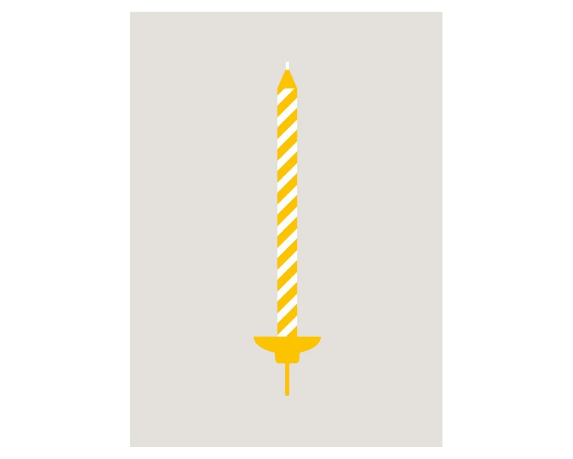BIRTHDAY CANDLE (Yellow) Greeting Card - annmooreengland