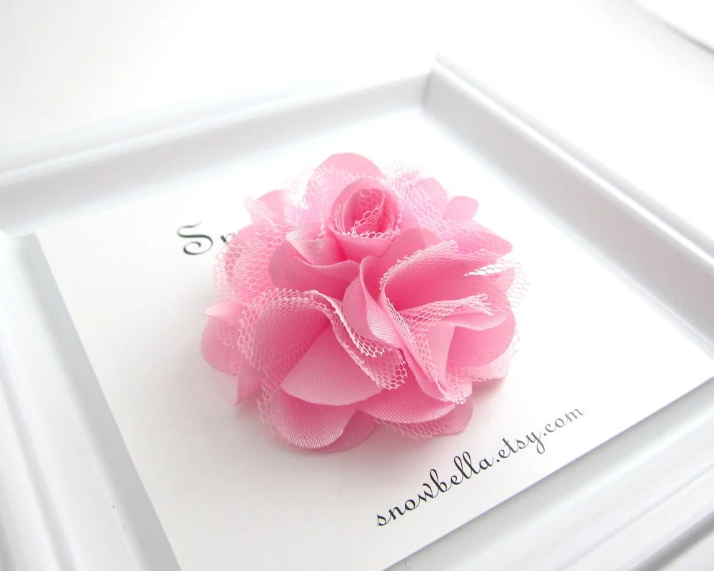 Light Pink Tulle Satin Puff Flower Hair Clip - snowbella