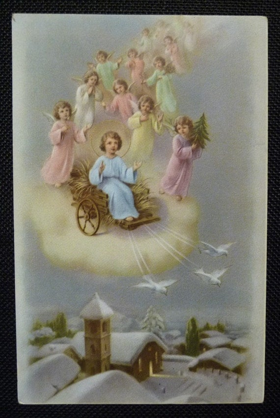 Vintage Holy Card Postcard Jesus Angels Winter Scene Made In