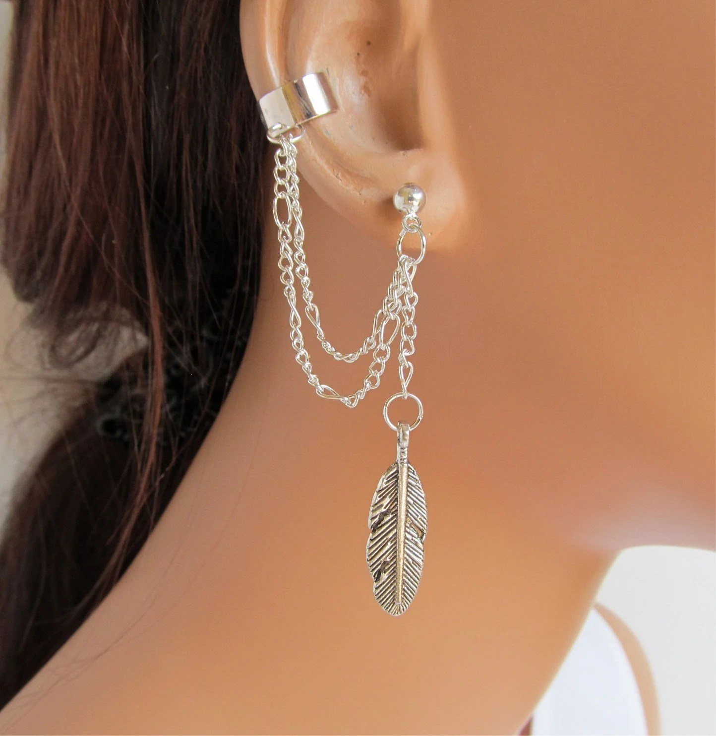 Ear Cuff Earrings Silver Double Chain Large Feather Gift Under