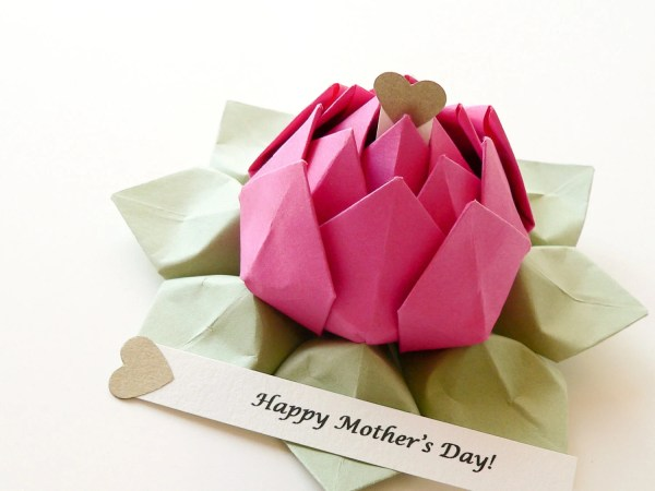 PERSONALIZED Mother's Day Origami Lotus Flower in Fuchsia