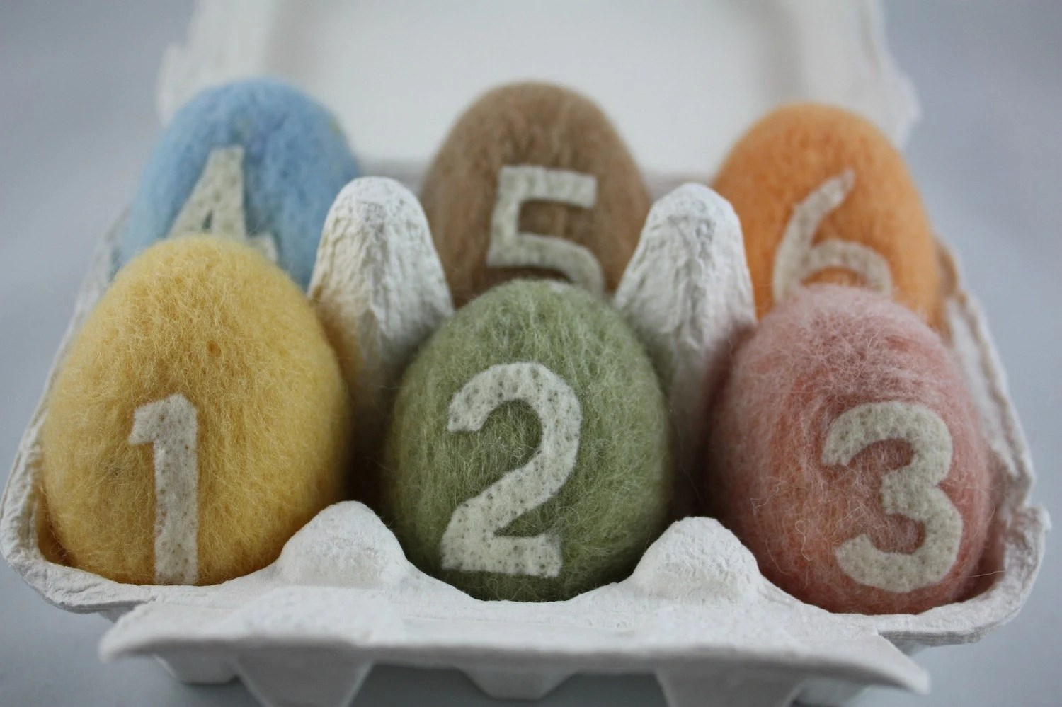 Needle Felted Eggs with numbers, Made to order