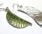 Green Leaves Earrings. Summer Nature Earrings. Simple Modern Jewelry. Bronze or Silver Earrings
