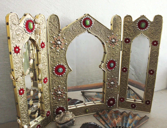 Vintage Moroccan Jeweled Stamped Brass Vanity Mirror